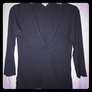 Ann Taylor Black low cut cozy top